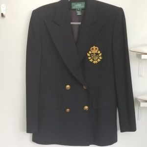 Ralph Lauren Double Breasted Crested Jacket, sz 4
